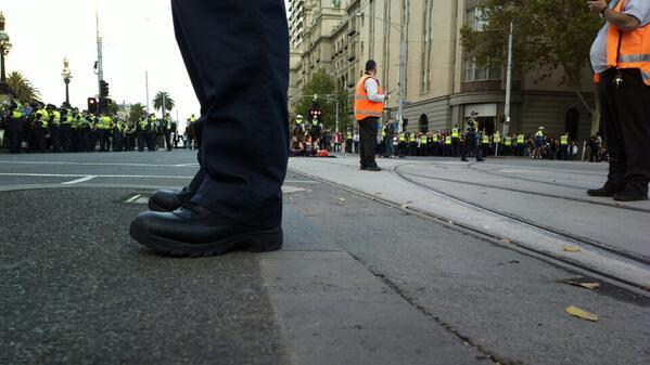 Photo from the end of #may21protest in Melbourne #ACAB, sit-in http://t.co/WIjbBAvVlR