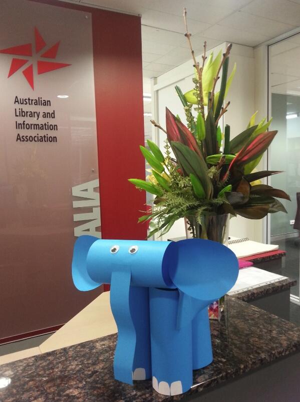 There was a parade of elephants from #NSS14 at @ALIANational office ready for tomorrow's #biggestmorningtea http://t.co/yHRJ8Xr5nO