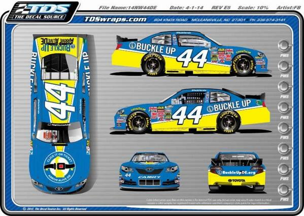#nascar Harraka's #44 Buckle Up paint scheme.