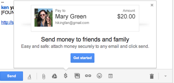 This just showed up in my Gmail compose window: a button to send money. Nigerian Princes have never been so happy - http://t.co/iGcBRV26KW