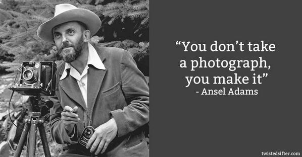 """""""You don't take a #photograph, you make it."""" —Ansel Adams #photography #quotes http://t.co/Fq8ilIk3qp"""