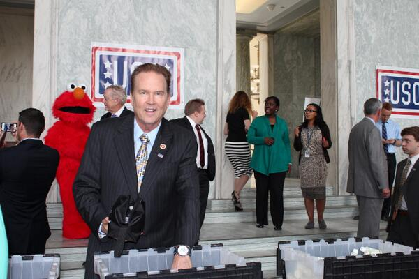Arranging care packages for our troops...with a little help from #Elmo @The_USO http://t.co/UPPVrs4a6O