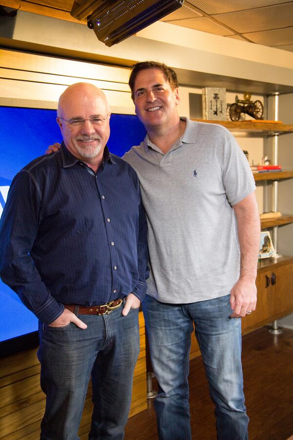 Thanks to @mcuban for swinging by the studio & doing the @EntreLeadership podcast and @RamseyShow w/ @DaveRamsey http://t.co/7Aue90nU8l