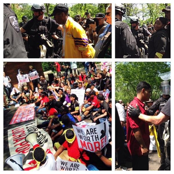 Fast-food workers arrested near McDonald's HQ as they seek to bring attention to their fight for $15. http://t.co/vFd5rqjva4 #FastFoodGlobal