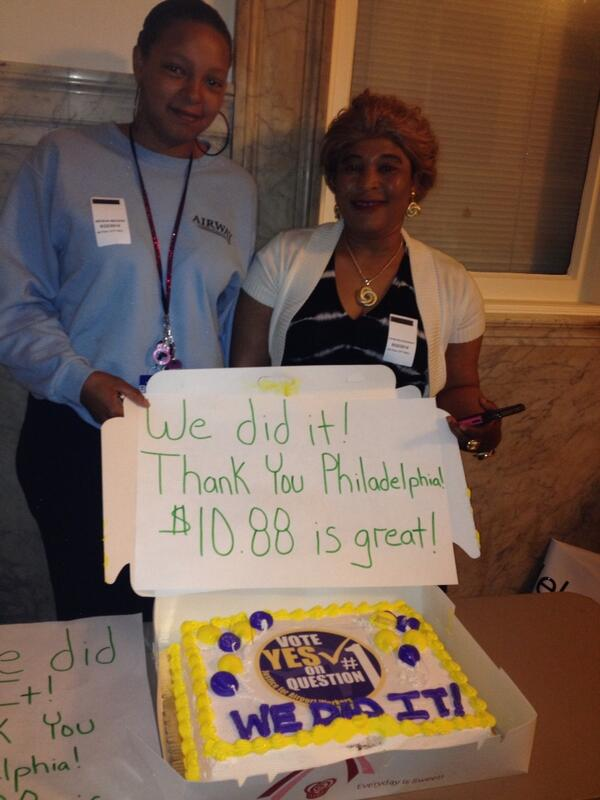 """Thank you, Philadelphia!"" Airport workers Fatmata & Nikisha celebrating the minimum wage victory! #YesOnOne http://t.co/evrXW0o14a"