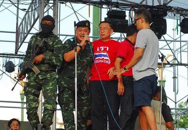 """@nationphoto by Supakit Khumkun - the minute UDD leader is detained at Aksa stage http://t.co/0aF4aXRXYb"