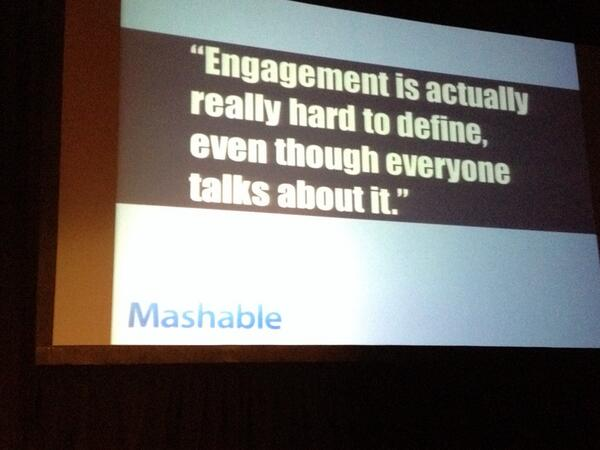 What is engagement? #CM1TO @clarke_d says it's expected from brands so must be real & tangible http://t.co/QcfVLMVDSz