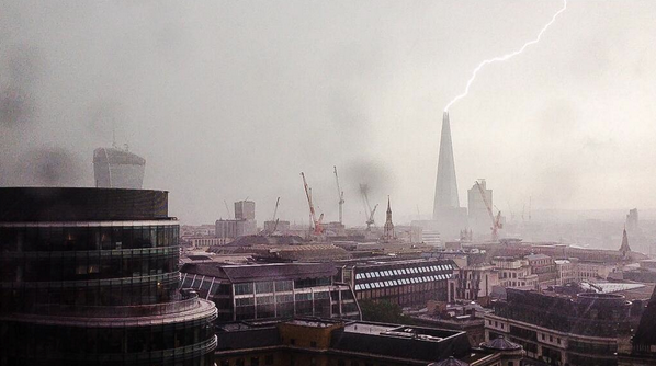 .@TheShardLondon hit by lighting. You're welcome. http://t.co/PqlBZO99Cm