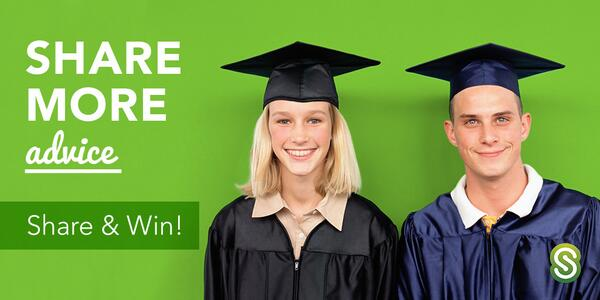 Start your sharing engines! Share advice for grads, win a prize. Use #gradshare to enter: http://t.co/YNQAGUAD8A http://t.co/4DuxFwSmBs