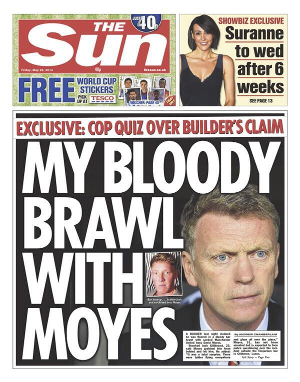 Builder tells off his Bloody brawl with David Moyes [Fridays Sun front page]