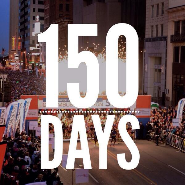Officially 150 days until the @nationwidekids Columbus Marathon & 1/2 Marathon! Anyone else counting down already? http://t.co/HS7OuvzlEi