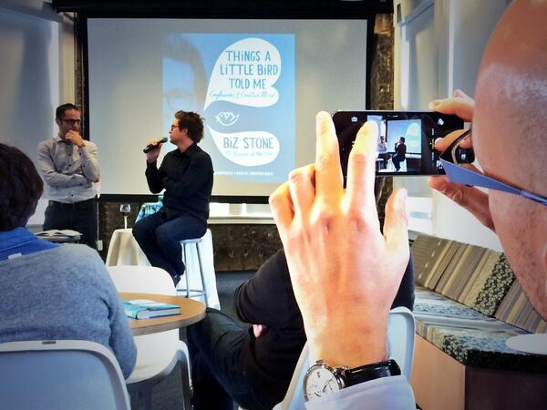Pic of @goldman taking a pic of @ev talking to @biz about #twitter http://t.co/iGhm8dnr2f