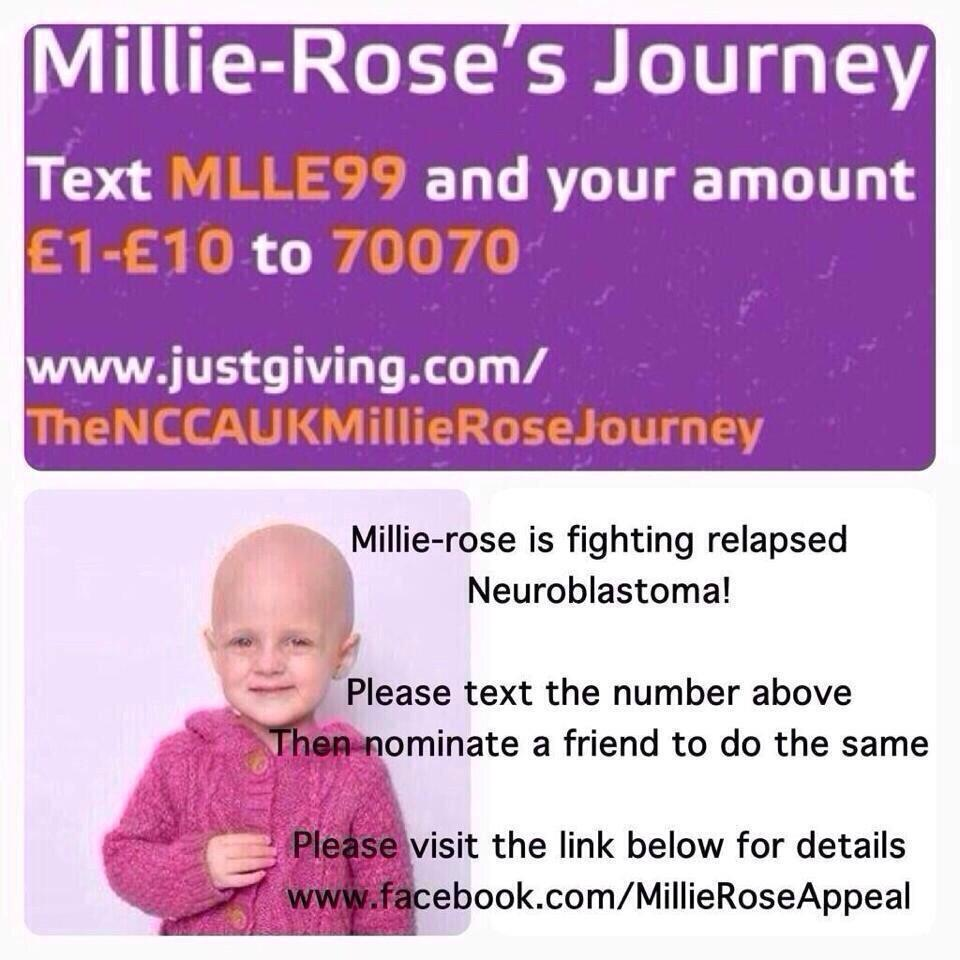 RT @NatashaScott29: @lemontwittor #MILLIEROSEAPPEAL RT for little 2yr old @Millieappeal Who's runout of UK options to fight cancer http://t…