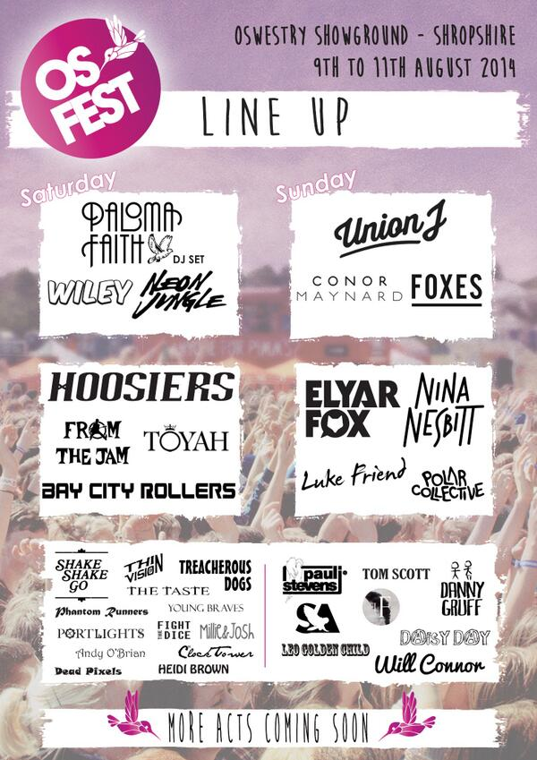 COMING TO THE #OSFEST: @Palomafaith, @thehoosiersuk, @FromtheJam1, Bay City Rollers and @toyahofficial. http://t.co/8ZT3B9tCa9