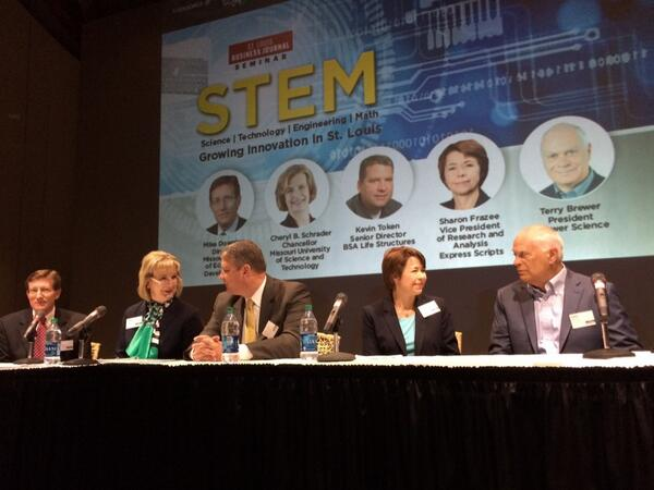 Great #STEMSTL panel with @StLouisBiz @BrewerScience @ExpressScripts @LifeStructures @SandTChancellor @MoEcoDevo. http://t.co/hxlbSa3OdV