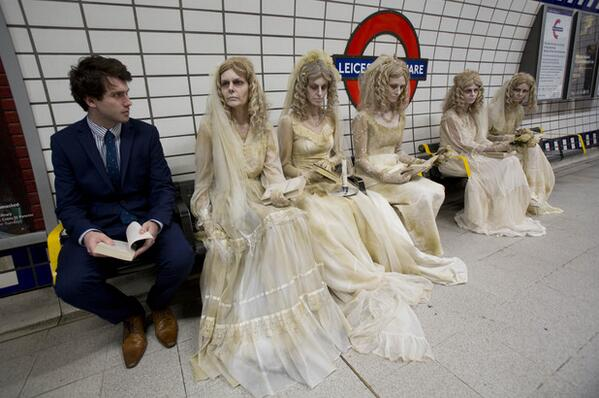 Gang of Miss Havishams from Great Expectations swarm the London Underground http://t.co/8lV8iOd2RX h/t @advanyoung http://t.co/8w8wfZaNjV