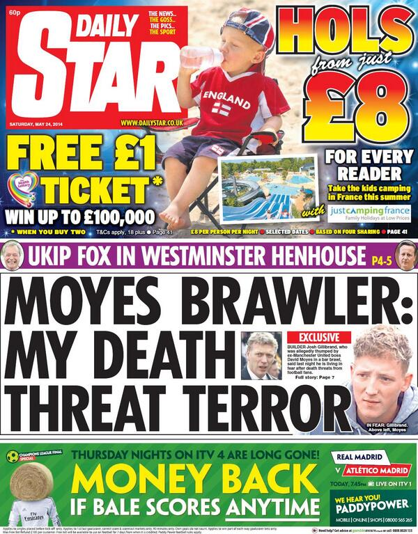 Builder involved in wine bar brawl with David Moyes getting death threats from football fans [Star]