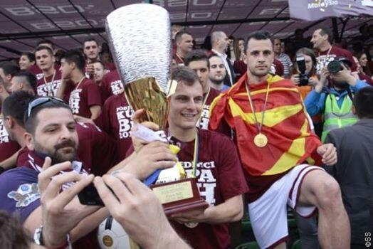 Krste Velkoski (with Macedonian flag) celebrates; photo: Facebook