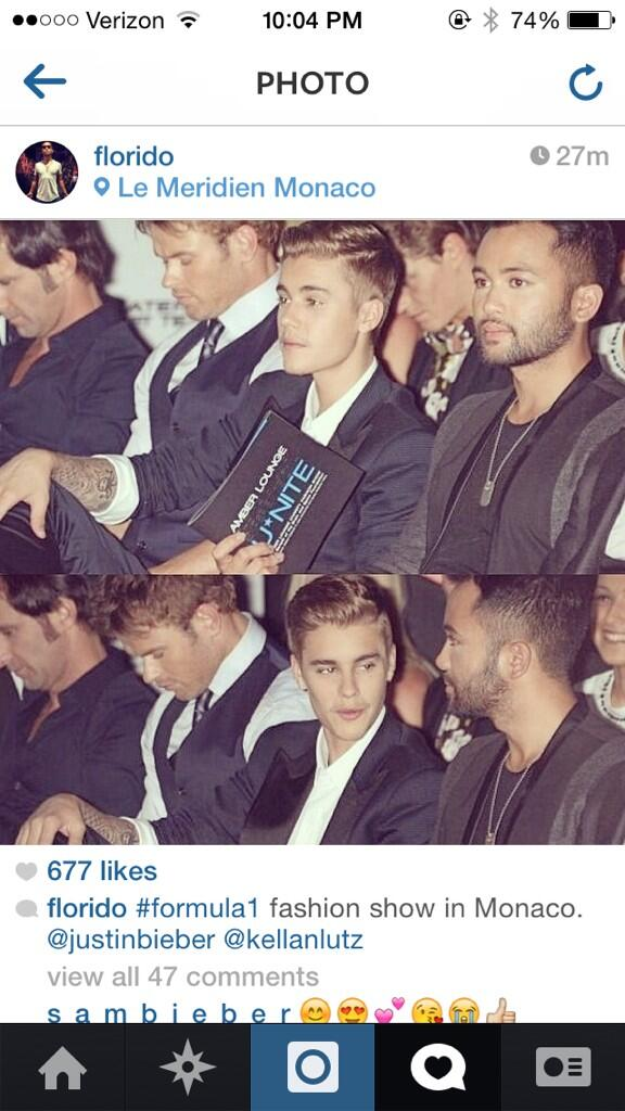And what a show it was boys. Good times hanging! @florido: #formula1 fashion show in Monaco @justinbieber @kellanlutz http://t.co/LT9bpGvXCc