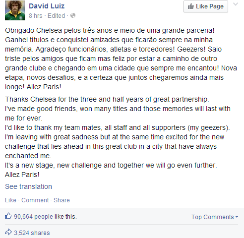 David Luiz thanks and says Goodbye to Chelsea via Twitter & FB ahead of PSG transfer