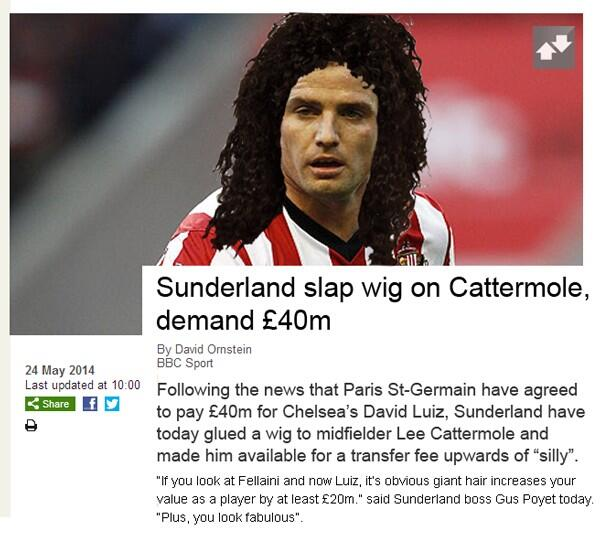 Sunderland slap wig on Cattermole, demand £40m. http://t.co/DlQ2yD4Z9N