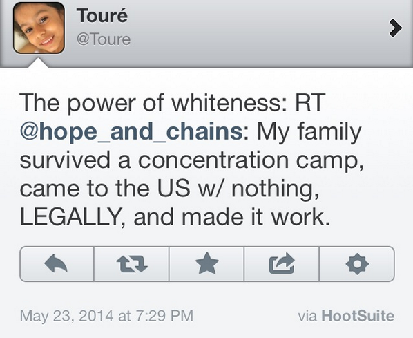 NBC's Toure to tp family survived a concentration camp - The power of whiteness