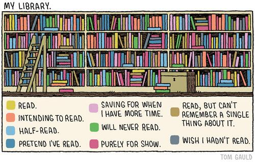 """BRILLIANT. RT @tomgauld: """"My Library"""" (my cartoon for yesterday's @guardianreview ) http://t.co/IxGboQ3Gon"""