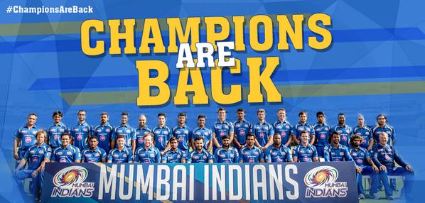 Never write us off! We are Mumbai Indians. #ChampionsAreBack !!! http://t.co/LAaZL5wfNp