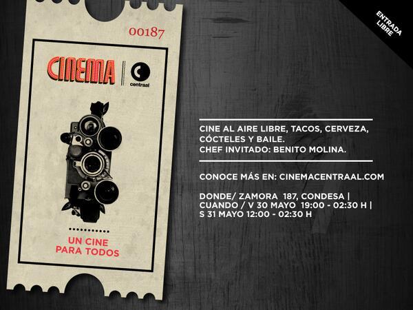 cine + tacos + cerveza + cócteles + baile en @cinemacentraal. Invitado especial @benitoysolange. En el @CorredorCRC http://t.co/yvYhK6MIqT