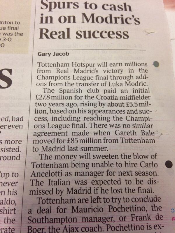 Spurs bag bonus payment from Real Madrid winning CL, for Modric but not Bale [Times]