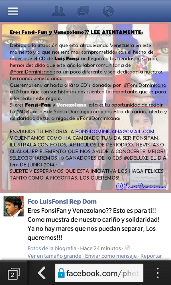 Hermosa la iniciativa de @FonsiDominicana para los Venezolanos con la nva produccion de @luisfonsi 8 http://t.co/375pbwYi7w