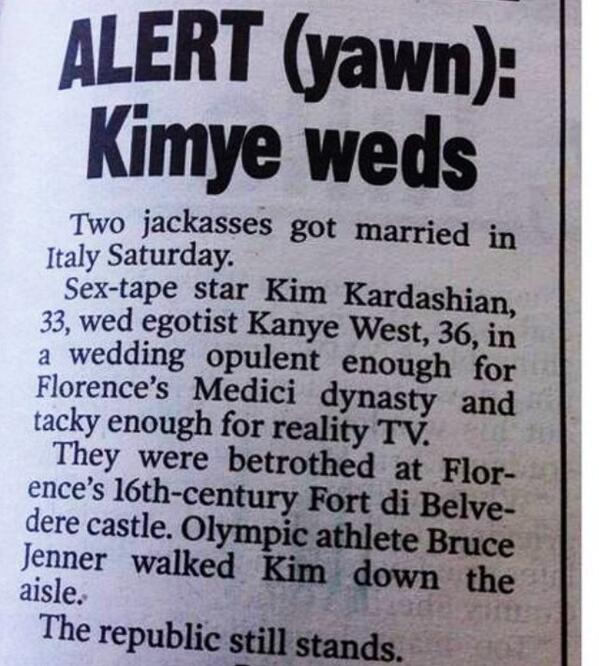 And this is how @nypost covered @KimKardashian wedding! HOWLING... http://t.co/1XQ90P4mwp