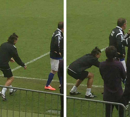 PRANK: One Direction man Harry Styles pulled down Piers Morgan's shorts during a charity game [Vine]