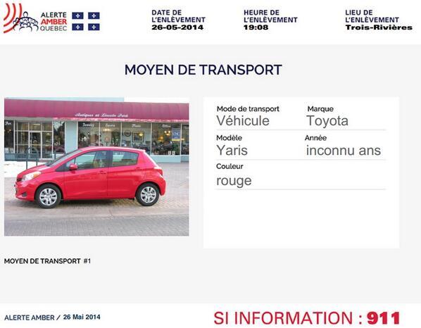 ALERTE AMBER: Bébé d'un jour enlevé hôpital #TroisRivières. PHOTO voiture recherchée http://t.co/LbUDjdBnqV #AMBER http://t.co/3Zlf7DH46z