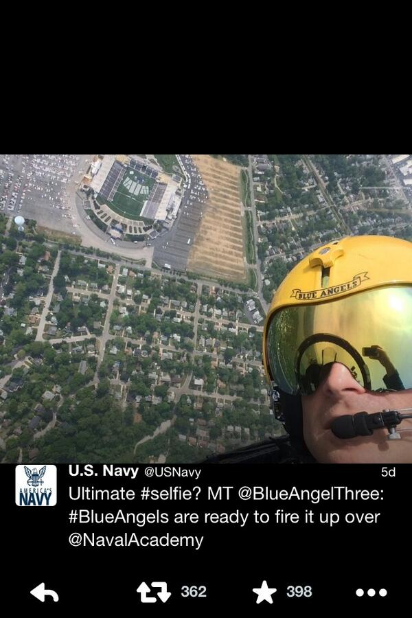 "U.S. Navy on Twitter: ""Ultimate #selfie? MT @BlueAngelThree: #BlueAngels are ready to fire it up over @NavalAcademy http://t.co/yUa4cNBQoS"""