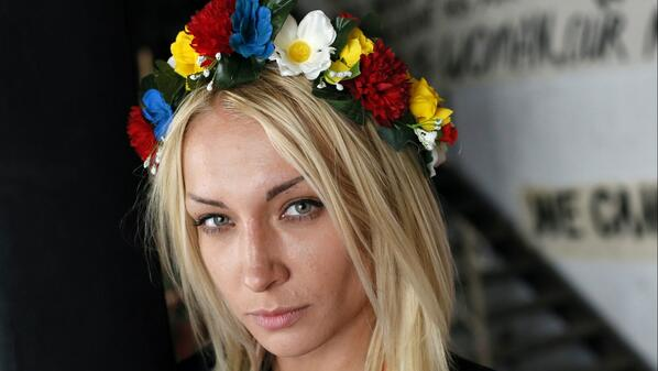 Inna Shevchenko @femeninna, leader  of topless protest group #femen on resistance and torture http://t.co/act8swqX2E http://t.co/8hgJhfLInY