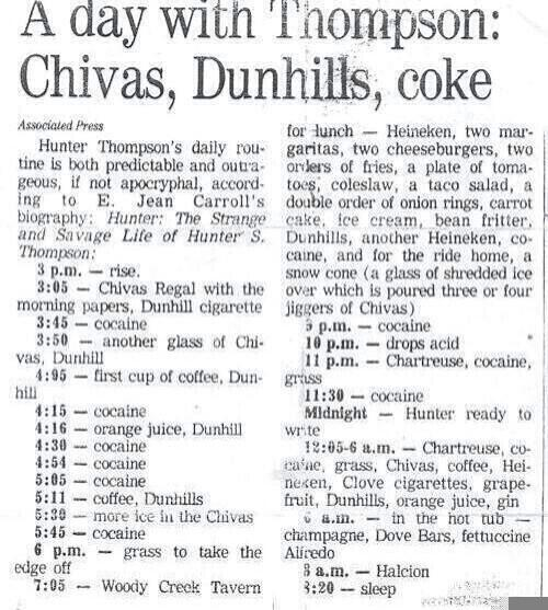 Hunter S Thompson's daily routine (and one I'll be adopting today). (via @samatlounge) http://t.co/BAAD1eY7GL