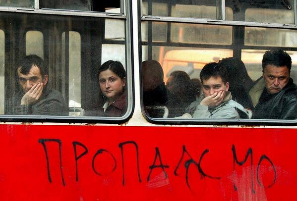 "Graffiti on a public bus in #Belgrade: ""We're doomed"" http://t.co/sXwticpTAX"