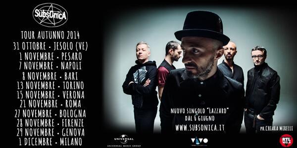 """""""Lazzaro"""", il nuovo singolo, esce il 6 giugno e poi si torna sul palco... #subsonicasette #subsonicatour http://t.co/6fMjGN7MGP"""