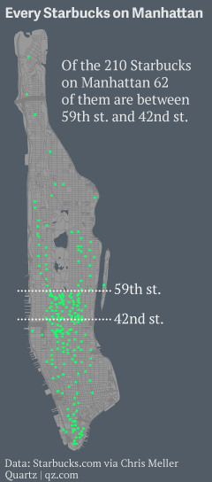 Here's a map of every Starbucks on Manhattan. It's a lot, but Seoul has got it beat. http://t.co/rNP3208T6D    http://t.co/idvXSmlFRm