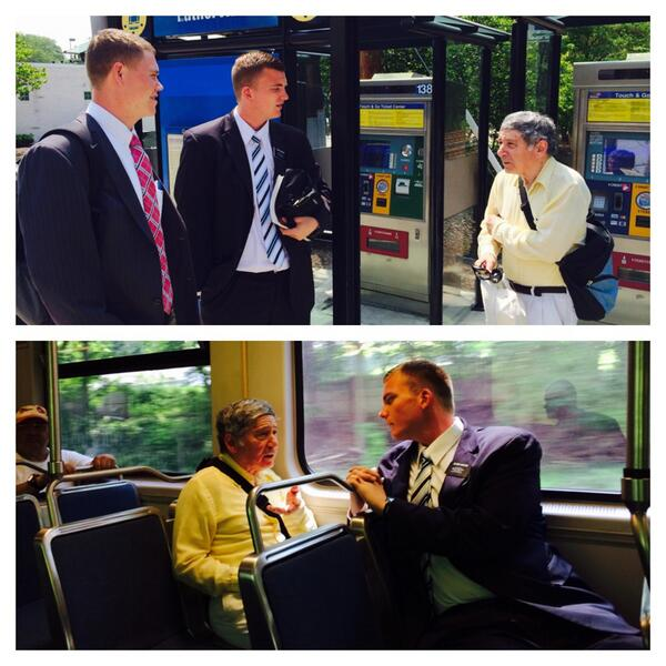 Elders Herzog and Burrup interact with everyone! Simple hello becomes a chat on train. #socialmediasplit http://t.co/hpkDmf7V34