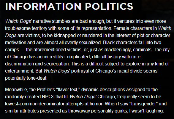 Sexism, racism, and transphobia  in @UbisoftMTL's Watch Dogs (c/o @aegies, http://t.co/j8CEyXZwOR ) http://t.co/T71LpzPsuJ