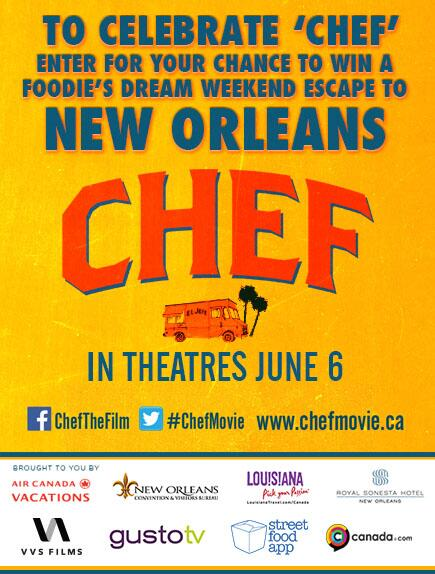 #ChefMovie: Win a trip to #NewOrleans: http://t.co/TnxEgXnu5v & tickets to the premiere: https://t.co/P0u25vYF8m http://t.co/AgbkDKUTa7