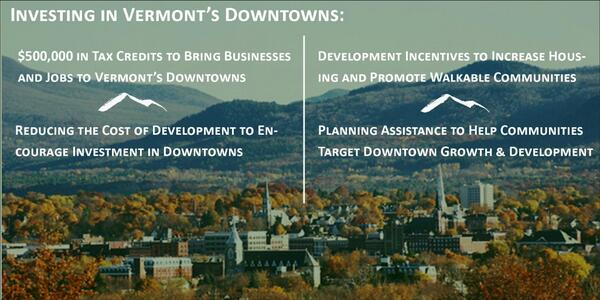 Vermont economic development bills to promote downtown growth