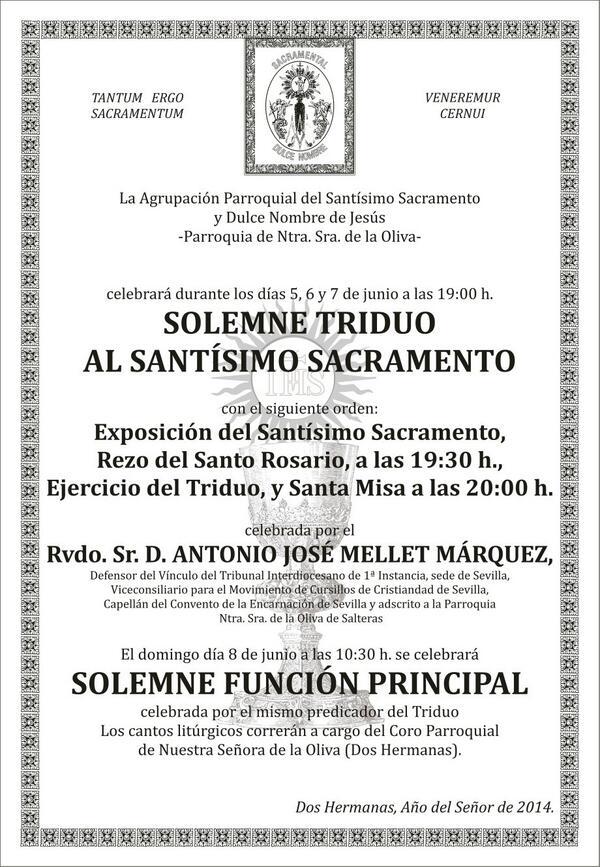 Cartel de CULTOS en honor al SANTÍSIMO SACRAMENTO del Altar