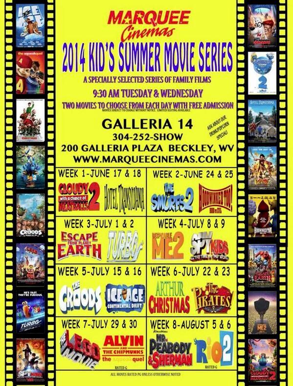 Beckley Events On Twitter Marquee Cinemas Galleria 14 Beckley Kids