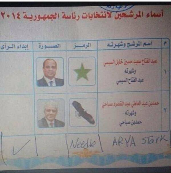 So, it looks like Arya Stark (@Maisie_Williams) got at least one vote in the Egyptian presidential elections #Egypt http://t.co/4srV3Ik4AR