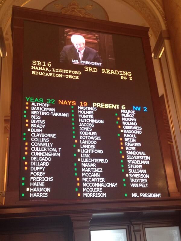 And after months of changes, @AndyManar's SB 16 passes Senate 32-19. http://t.co/9Utq4yhtY3
