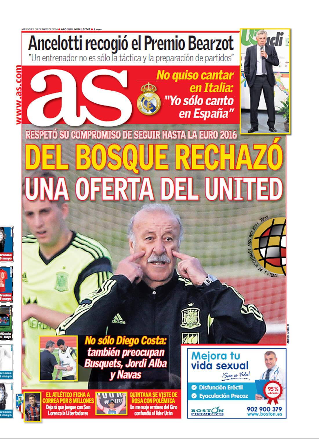 Spain coach Vicente Del Bosque rejected mega offer to coach Manchester United [AS]