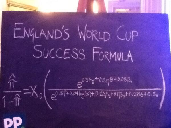 The otherwise highly-regarded Stephen #Hawking is about to explain his formula for England's World Cup success http://t.co/xbW165TtCX